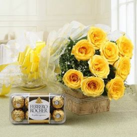 Yellow roses and Ferrero rocher