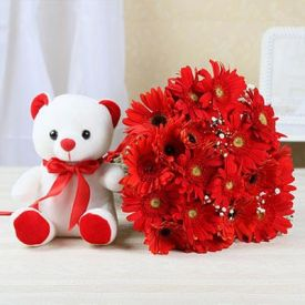 20 red gerberas and (6 inch) White teddy bear