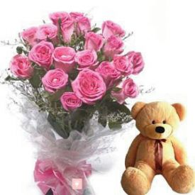 A bunch of 25 pink roses and (6 inch) brown teddy bear.