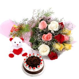 A bunch of 10 mixed roses, 1 kg black forest cake and 12 inch teddy bear