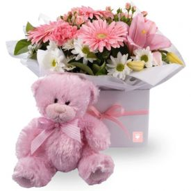 A bunch of 20 mixed flower, and(6 inches) pink teddy bear