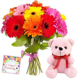 A bunch of 20 mixed gerberas, and brown 6-inch teddy bear.