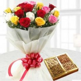 Mixed roses and Dry fruits.