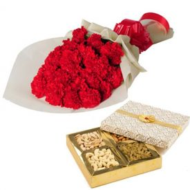 Red carnation with dry fruits