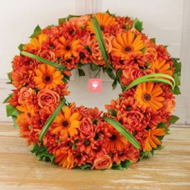 Orange Roses and Gerberas Wreath!