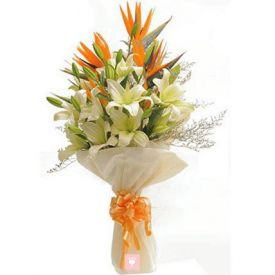 Bunch of 7 white lilies and 3 orange lilies
