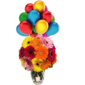 Gerberas in Vase with Balloons