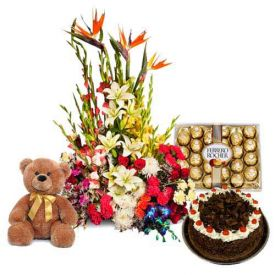 Basket of Mixed flowers, Black forest cake, Ferrero Rocher and Teddy