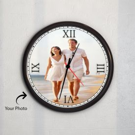 Round Wooden Clock With Photo