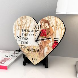 Heart Shape Clock With One Name