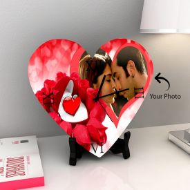 Heart Shape Wooden Clock With Photo