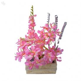 Floral Expressions Pink Orchids Artificial Flowers With Vase - Square Vase