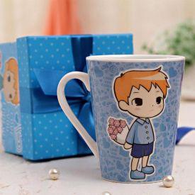 Printed Blue Mug In Gift Box