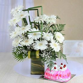 Strawberry Cake with White Gerberas