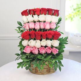 Mixed Roses With Basket