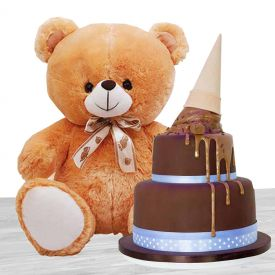 2-tier Chocolate Cake, Teddy Bear (12 inches)