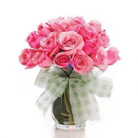 15 Pink Roses with vase