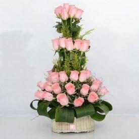 30 Charming Pink Roses Basket