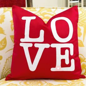 LOVE Valentines Day Pillow Cover