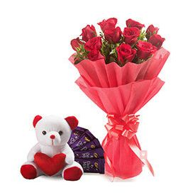 20 Red Roses, 6 inch Teddy Bear and 16 pcs Dairy M...