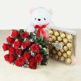 18 Red Roses with 24 Pcs Ferrero Rocher & Teddy