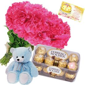 12 Pink Carnations with Teddy & Ferrero Rocher