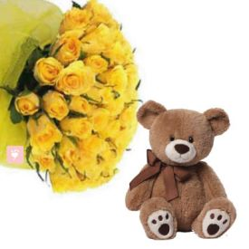 10 yellow roses and 6'' teady bear