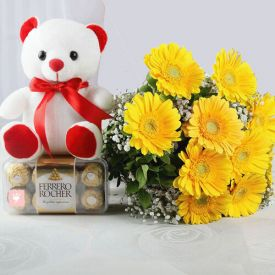 10 Yellow Gerberas with Ferrero Rocher & Teddy