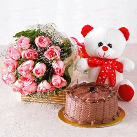 6 Pink Roses with Half Kg Pineapple Cake (Eggless) & Teddy