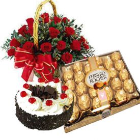 Basket of 20 Red Roses, 1 Kg Black forest cake and 24 Pcs ferrero Rocher