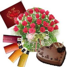 Basket of 20 Red Roses, 1 Kg heart shaped chocolate cake and 4 pcs Temptation