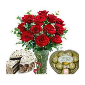 10 Red roses in Vase, 1/2 kg Buttur sotch cake and 16 pc ferrero Rocher
