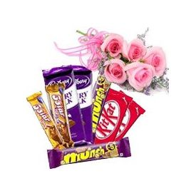 Bunch of 5 pink roses with mixed chocolate