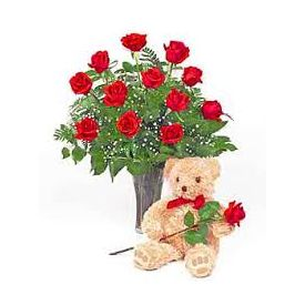 10 red roses with 12''teady