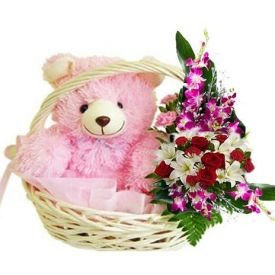 A basket of 20 flowers(orchids,red roses and lily)