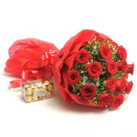 Supple Gesture and Bouquet of 10 Red Roses , Ferraro Rocher Chocolate Box - 16 pcs.