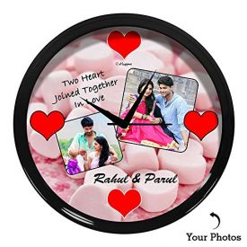 Personalized Two Heart Wall Clock