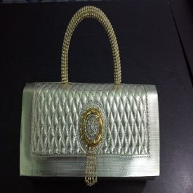 Silver party Clutch with golden handle