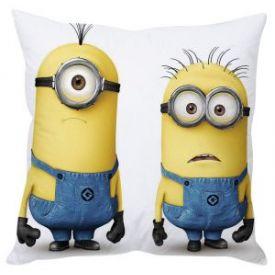 Confused Minions White Silk Cushion