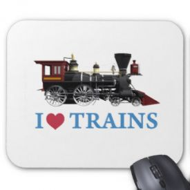 I Love Trains Mouse Pad