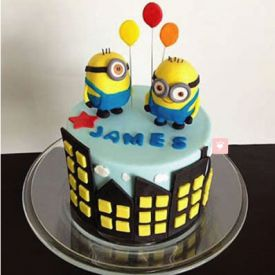 Minions with balloon Cake