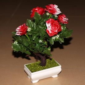 Red Plastic with PVC Coating Miniature Artificial Plant