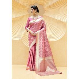 Pink Banarasi Silk Woven Designer Saree