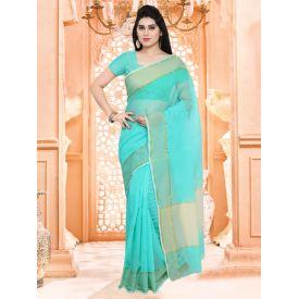 Blue Plain Saree With Blouse
