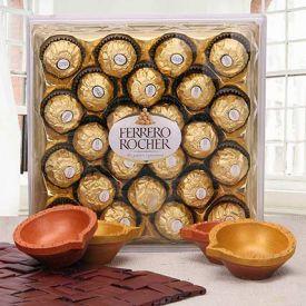 24 pieces of Ferrero Rocher and 4 diyas.