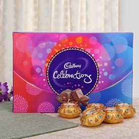 Decorative Diyas and chocolates