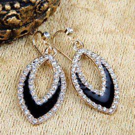 Gold Plated Eye shaped Drop Earrings