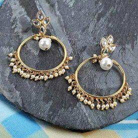 stone-studded drop earrings