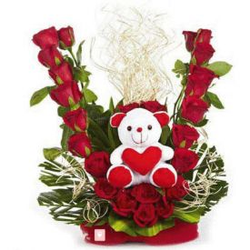 Teddy With Roses Arrangements