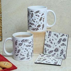 White Duo Mugs N Coasters